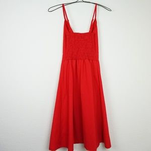 Dresses - Red tie front cut out knee length dress